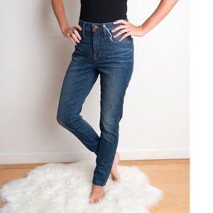"Madewell 9"" high rise skinny distressed hem jeans"